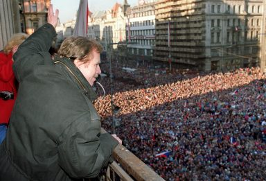 10 December 1989: Václav Havel waves from a balcony on Prague's Wenceslas Square, after the constitution of the new Czechoslovak government. Two weeks later, at the end of 1989, Havel was elected first president of the than Czechoslovakia when the state-communist system crumbled in the Velvet Revolution. (Photo: Lubomir Kotek/AFP/Getty Images)
