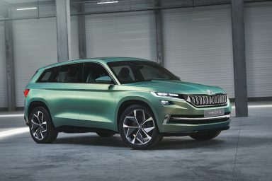 The VisionS has a unique colour which accentuates its muscular stance. (Photo: ŠKODA AUTO a.s.)