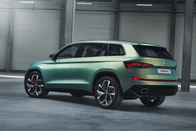 Its sense of proportion and design detail give the VisionS a sculptured look. (Photo: ŠKODA AUTO a.s.)