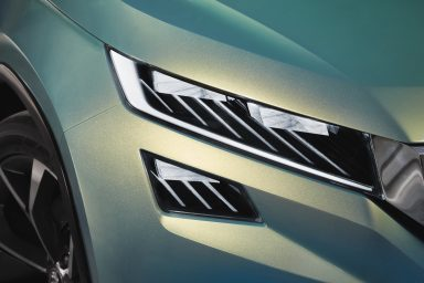The two separated headlights will be a distinct design feature for future SUVs. (Photo: ŠKODA AUTO a.s.)