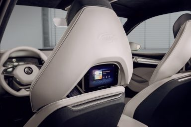 Backseat passengers are kept in the loop via networked seat screens that also connect with smartphones. (Photo: ŠKODA AUTO a.s.)