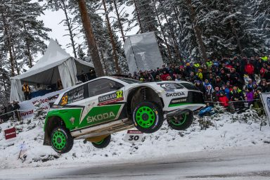 Taking off: the thrills and spills on the rally racing track. (Photo: ŠKODA AUTO a.s.)