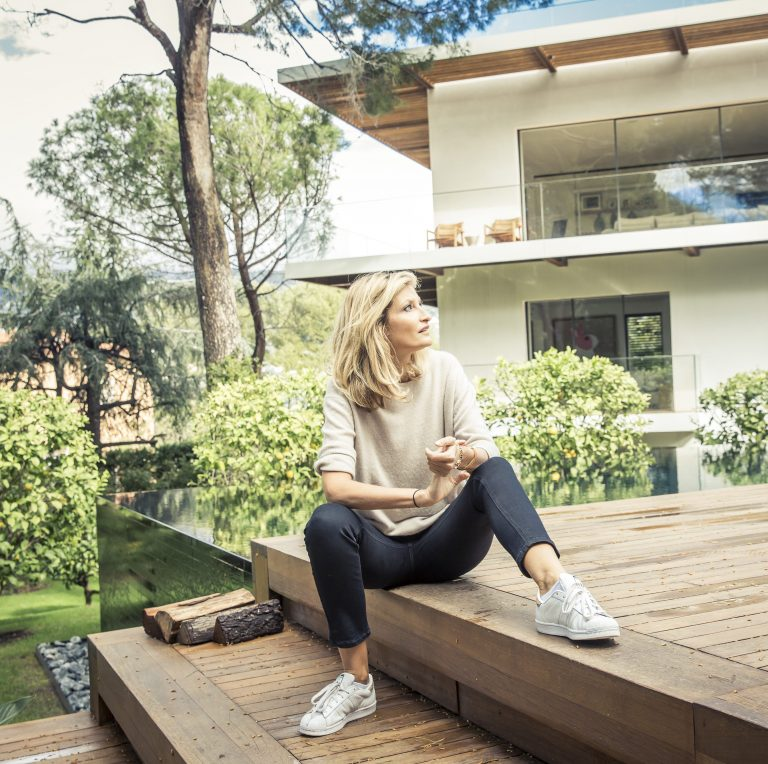 Tereza Maxová in front of her summer house in Saint-Jean-Cap-Ferrat. The house used to belong to tennis star Björn Borg.