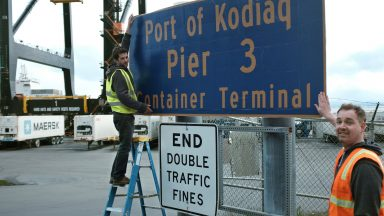 Even the port's container terminal gets a new sign. (Photo: ŠKODA AUTO a.s.)