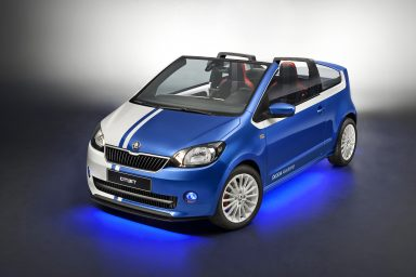 ŠKODA CITIJET; The ŠKODA CITIJET is a city convertible based on the ŠKODA Citigo. The exterior is painted in blue and white, the 16-inch alloy wheels in blue.