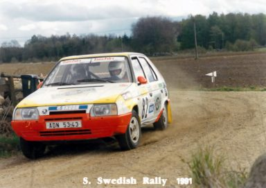 South Swedish Rally 1991, Jan Klokočka a Jan Graf s vozem ŠKODA Favorit 136 L. (Fotografie: soukromý archiv)