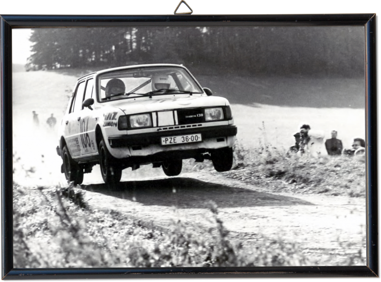 Jump! Jan Klokočka and Miloš Heřman with a ŠKODA 130 L driving the 23. Rally Šumava in 1988.