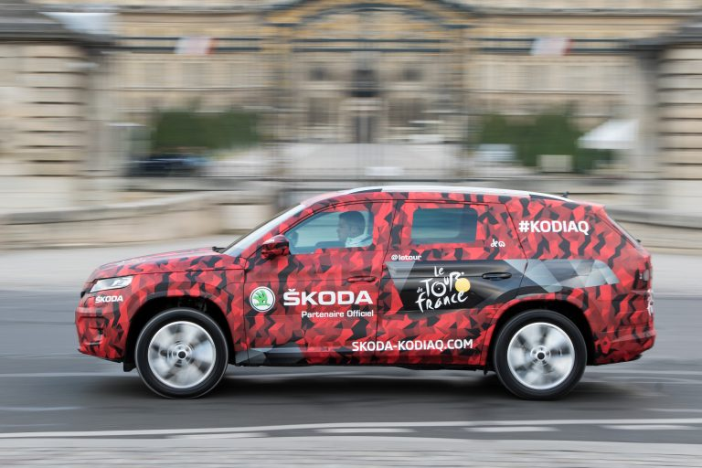 ŠKODA KODIAQ at Tour de France 2016; For its Tour premiere the new ŠKODA SUV got a new camouflage cover in red, grey and black.
