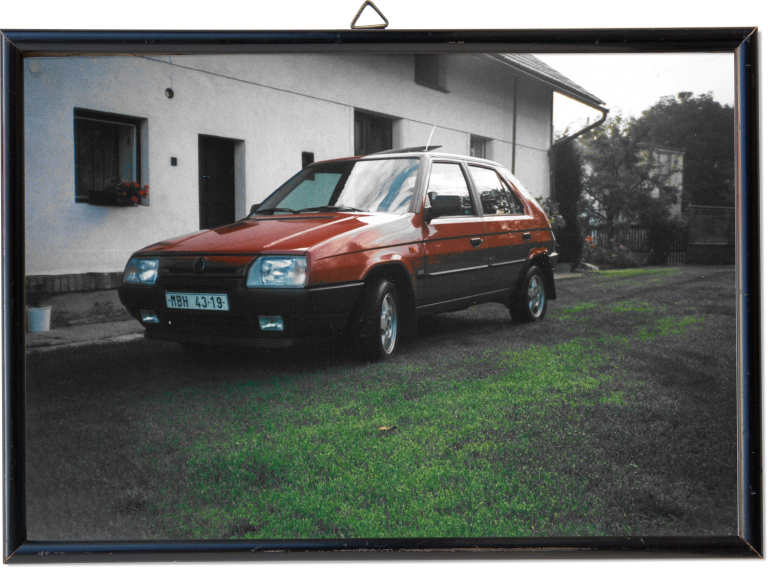 The red vintage ŠKODA Favorit owned by Jaroslav Horák in the yard of his weekend cottage. First picture (above): Jaroslav Horák at his workplace in the test center of Mladá Bloeslav, recorded in May 2016.