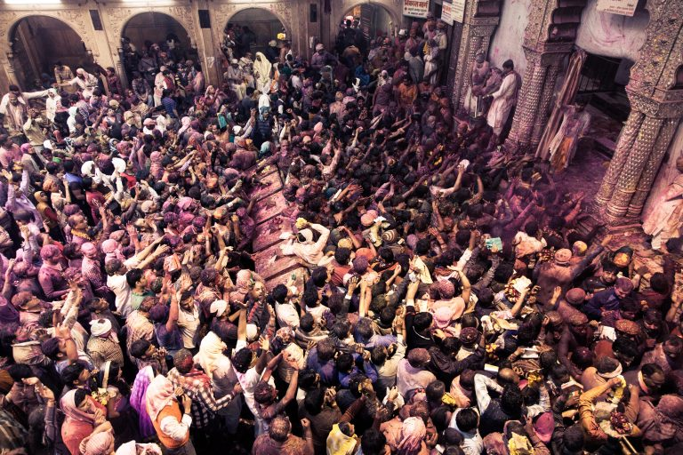 Every year in spring, thousands and thousands of people head to Banke Bihari in Vrindavan, India, to celebrate the start of spring.