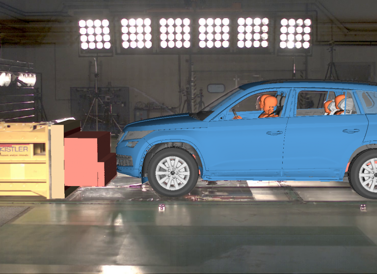 There's a huge crash - but nobody has to sweep up afterwards! Computer-aided accident simulations are increasingly being used to complement conventional crash tests at ŠKODA. The ultimate goal: greater safety for all occupants.