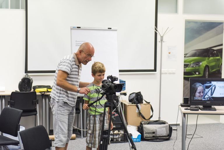 Young professionals: Experienced cameramen taught how to use professional camera gear.