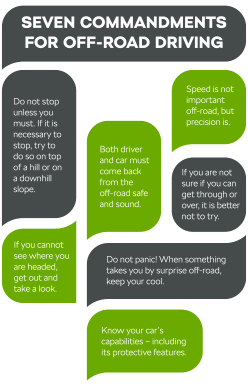 Seven commandments for off-road driving