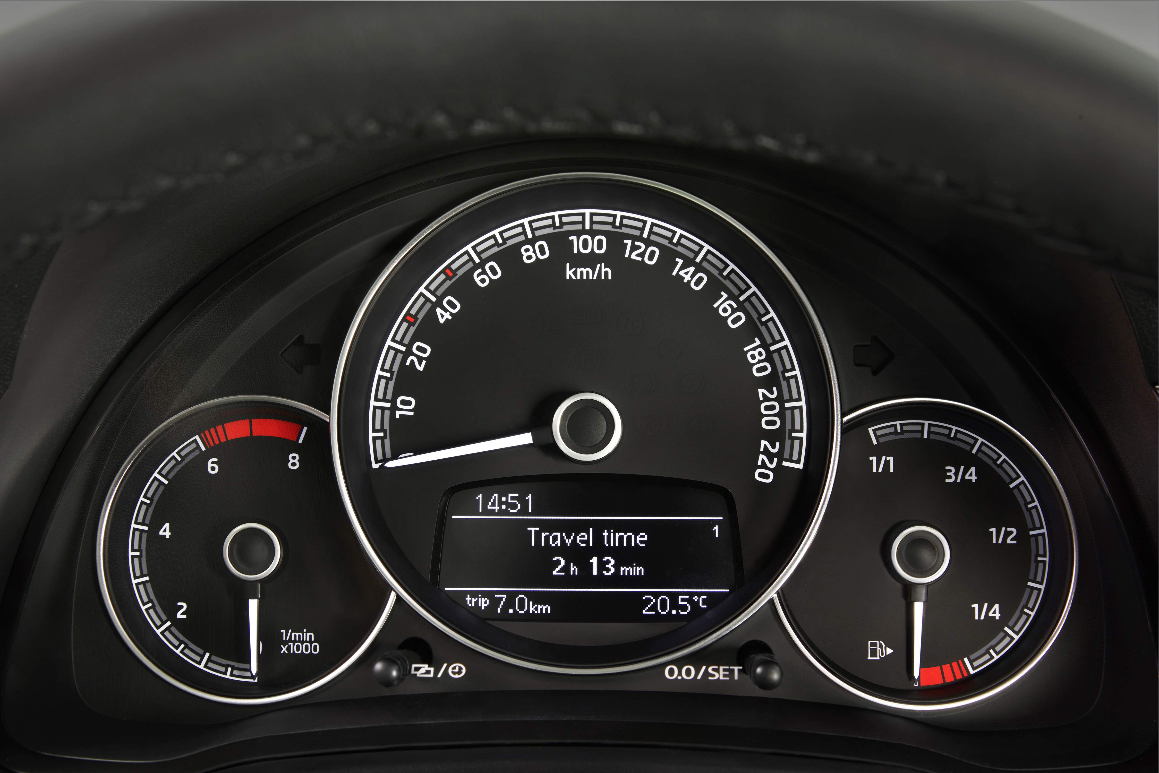 Koda Citigo Storyboard Tachometer 4 In 1 The Digital Display Which Is Located Lower Section Of Speedometer Showing Time Mileage Etc Now Easier To Read With White Numbers On A