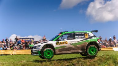 ADAC Rallye Deutschland: Pontus Tidemand and ŠKODA on track for winning both WRC 2 titles