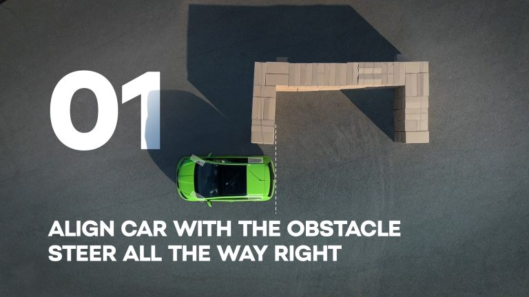 Align car with the obstacle, steer all the way right