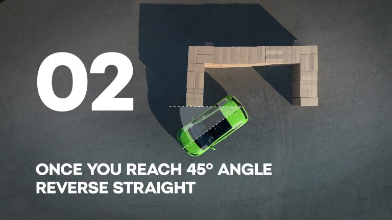 Once you reach 45° angle reverse straight