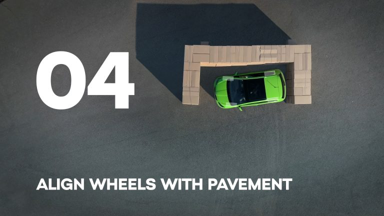 Align wheels with pavement