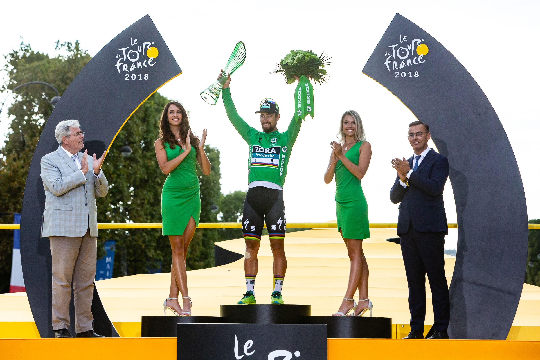 Tour de France winner Geraint Thomas celebrates with ŠKODA AUTO