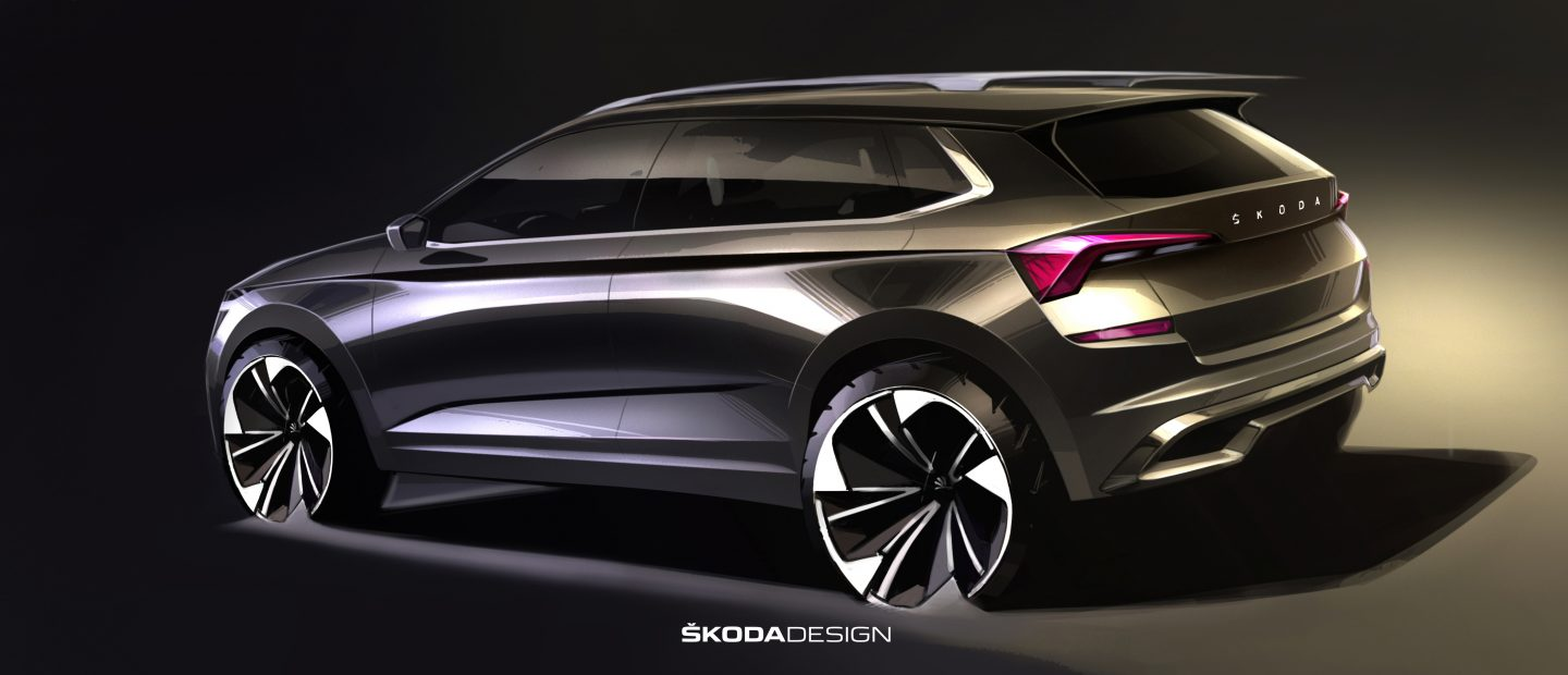 First sketches of the new ŠKODA KAMIQ:  Outlook of the rugged city SUV