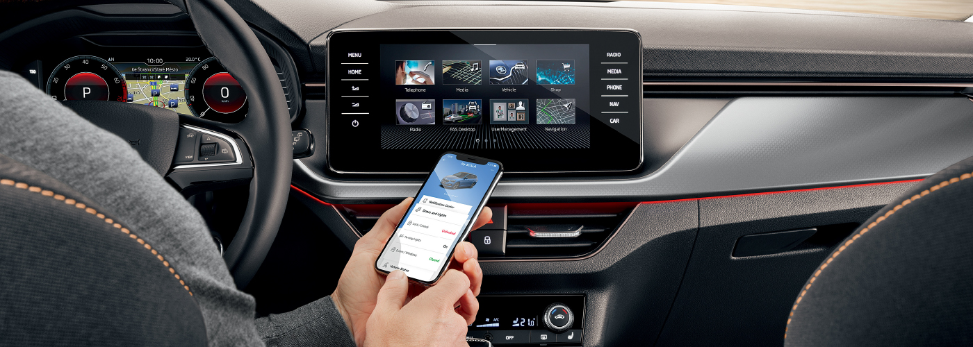 Skoda-Scala-connectivity-phone-interior