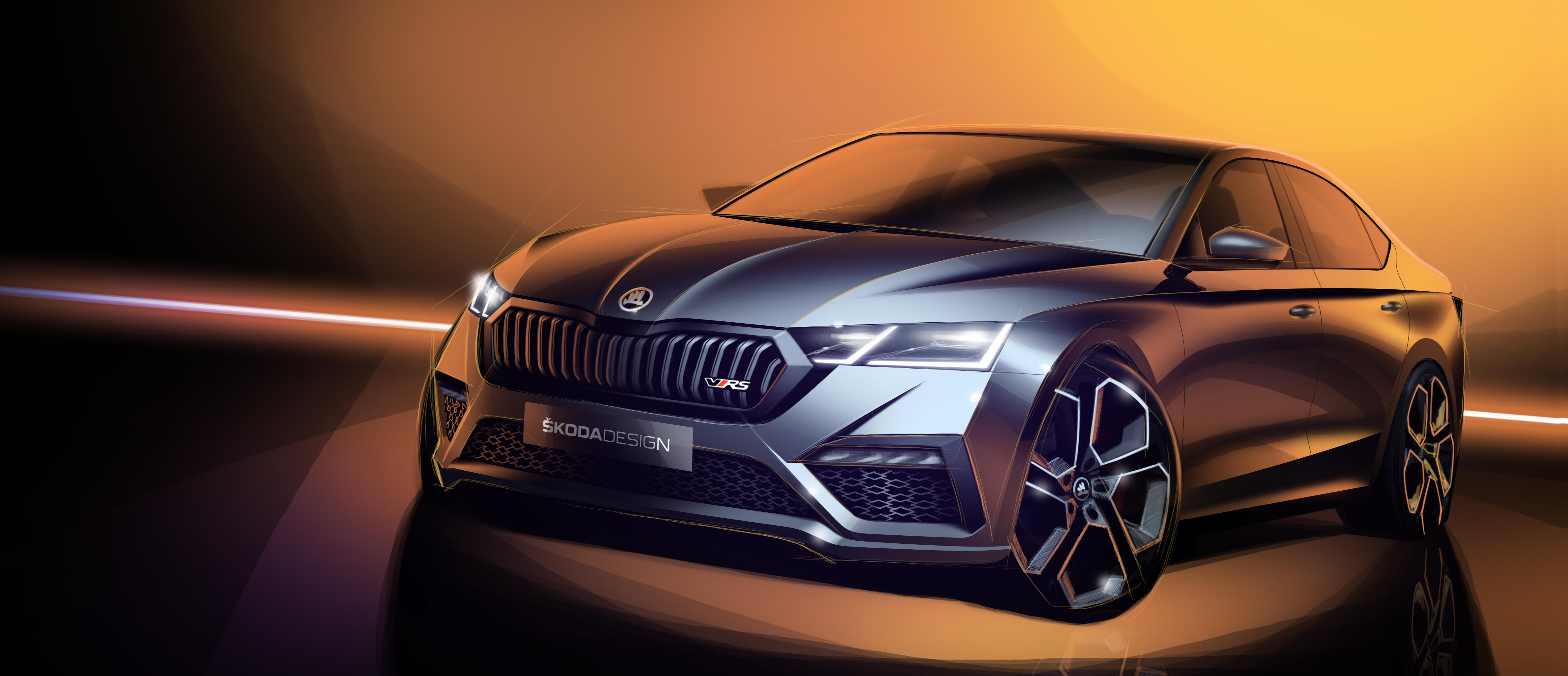 Skoda Teases First Sketches Of All New Octavia Rs Iv Skoda Storyboard