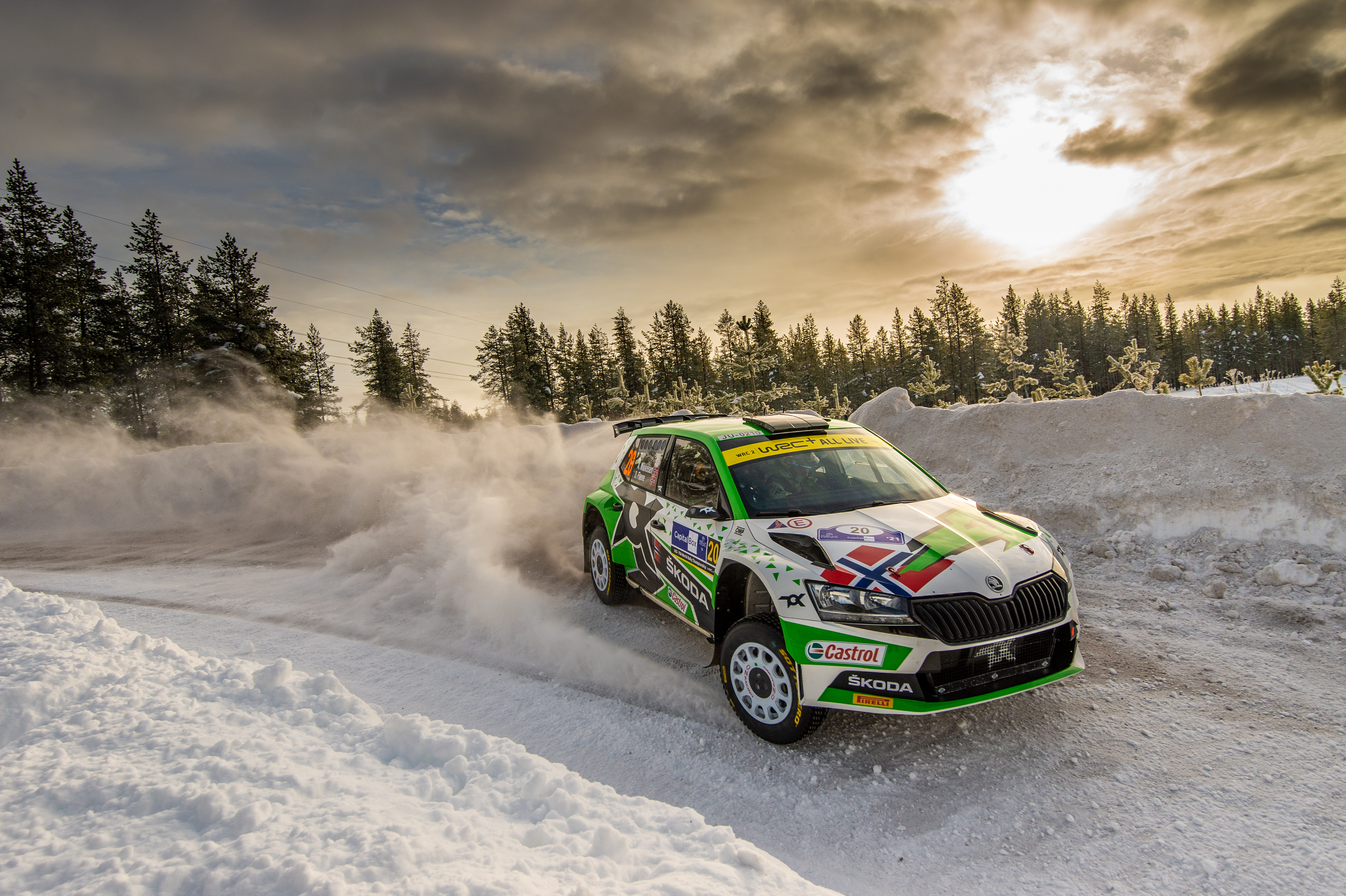 Arctic Rally Finland: SKODA Motorsport supported Andreas Mikkelsen finishes Friday leg third in WRC2 - Image 7