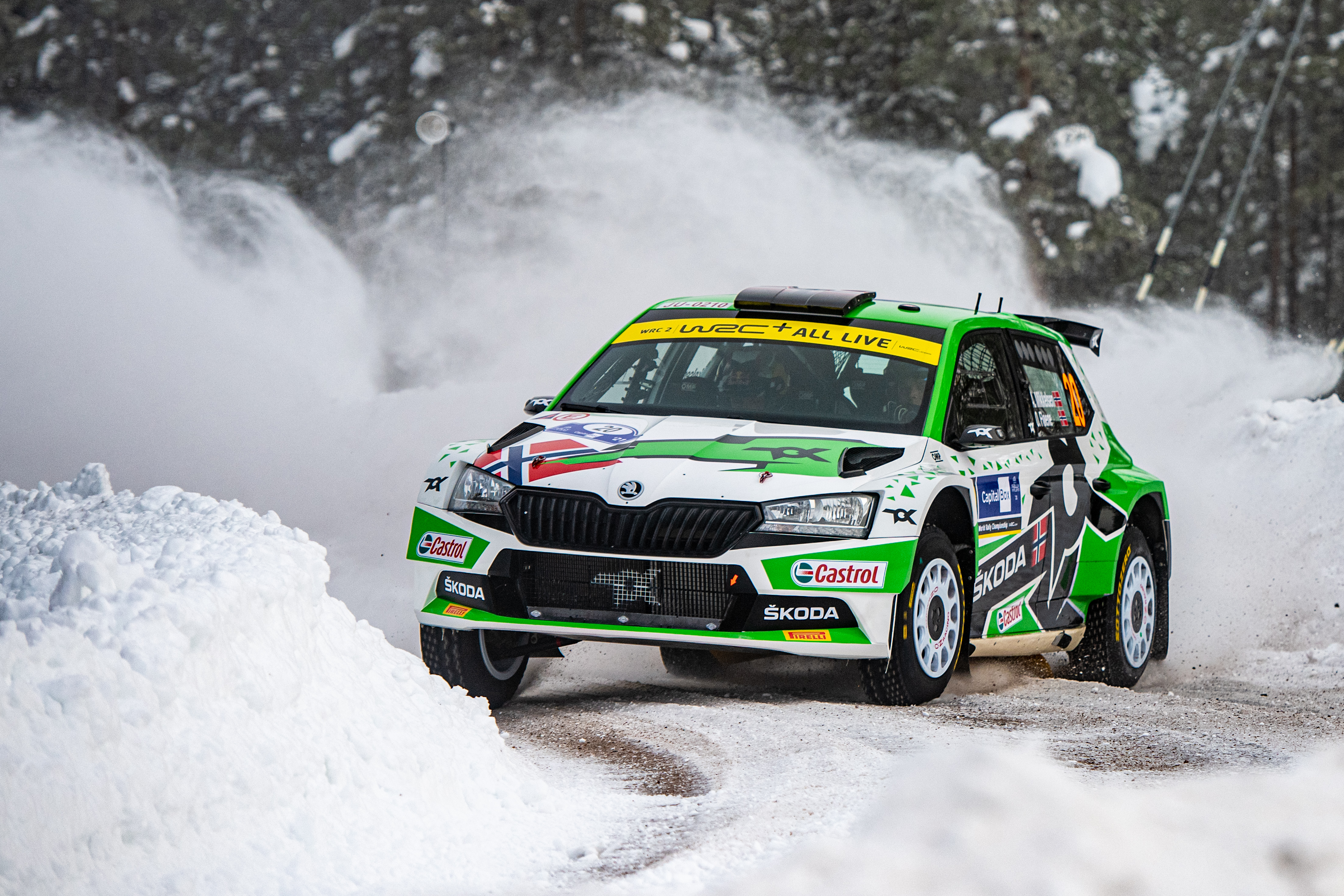 Arctic Rally Finland: SKODA Motorsport supported Andreas Mikkelsen finishes Friday leg third in WRC2 - Image 3