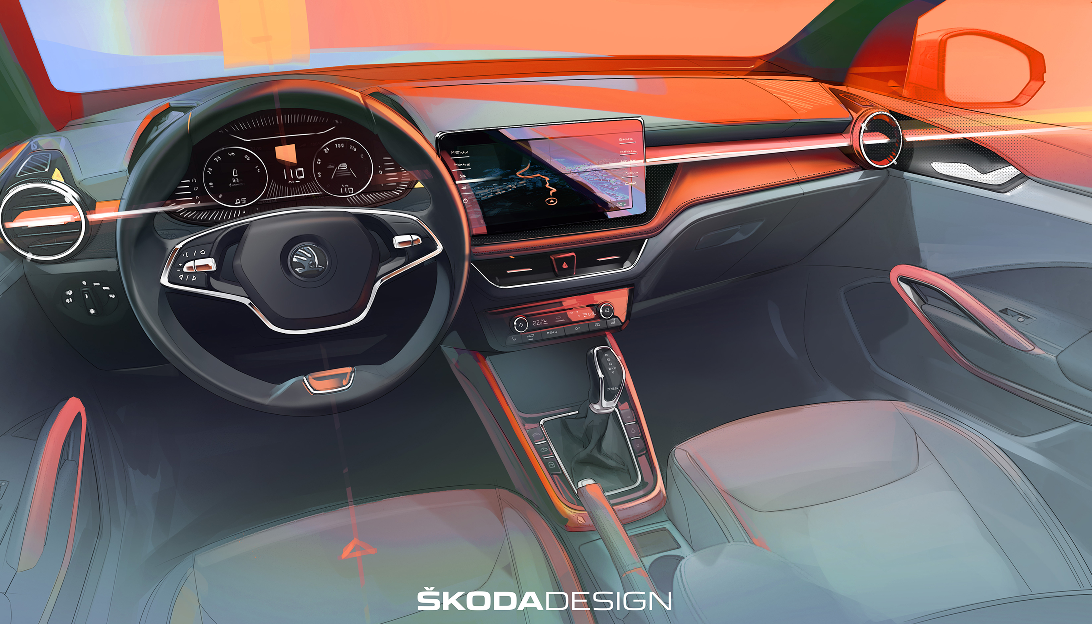 Sketch of the interior of the fourth-generation ŠKODA FABIA